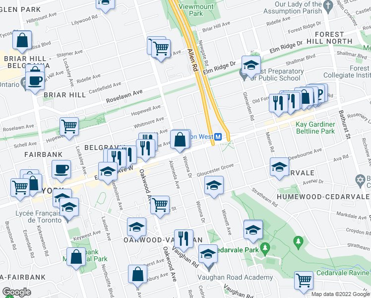 map of restaurants, bars, coffee shops, grocery stores, and more near 1402 Eglinton Avenue West in Toronto