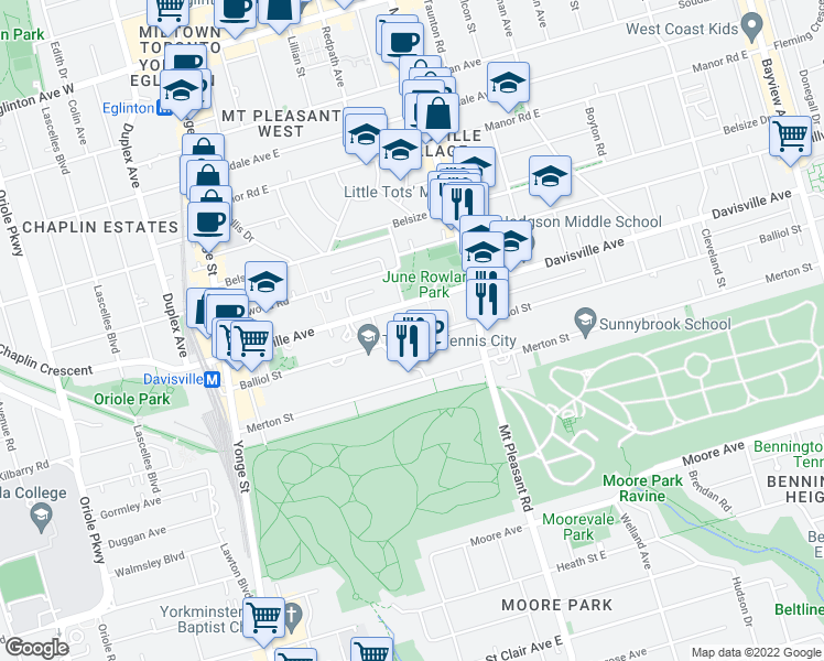map of restaurants, bars, coffee shops, grocery stores, and more near 222 Balliol Street in Toronto