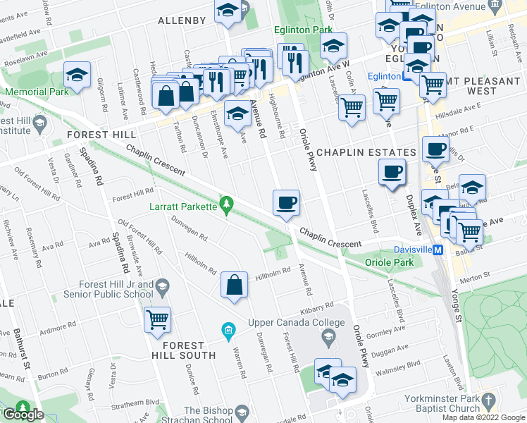 map of restaurants, bars, coffee shops, grocery stores, and more near Chaplin Crescent in Toronto