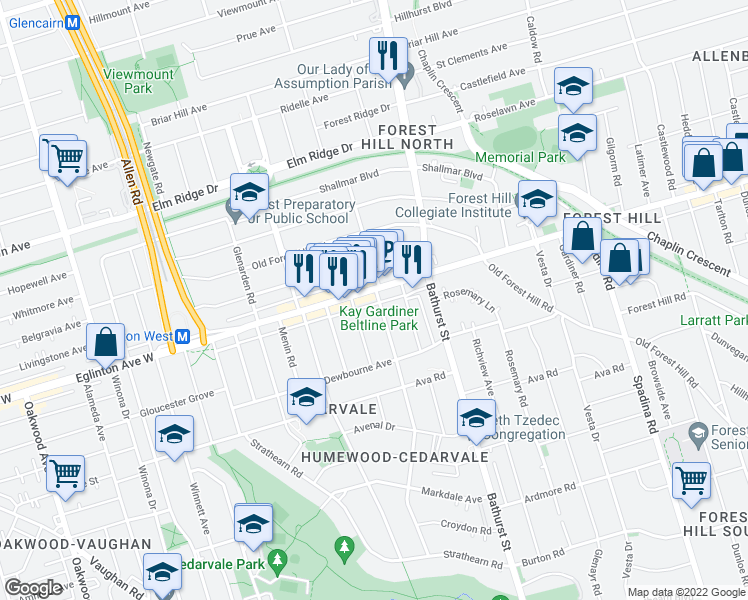 map of restaurants, bars, coffee shops, grocery stores, and more near 170 Chiltern Hill Road in Toronto
