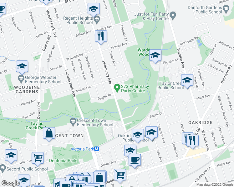 map of restaurants, bars, coffee shops, grocery stores, and more near 273 Pharmacy Avenue in Toronto