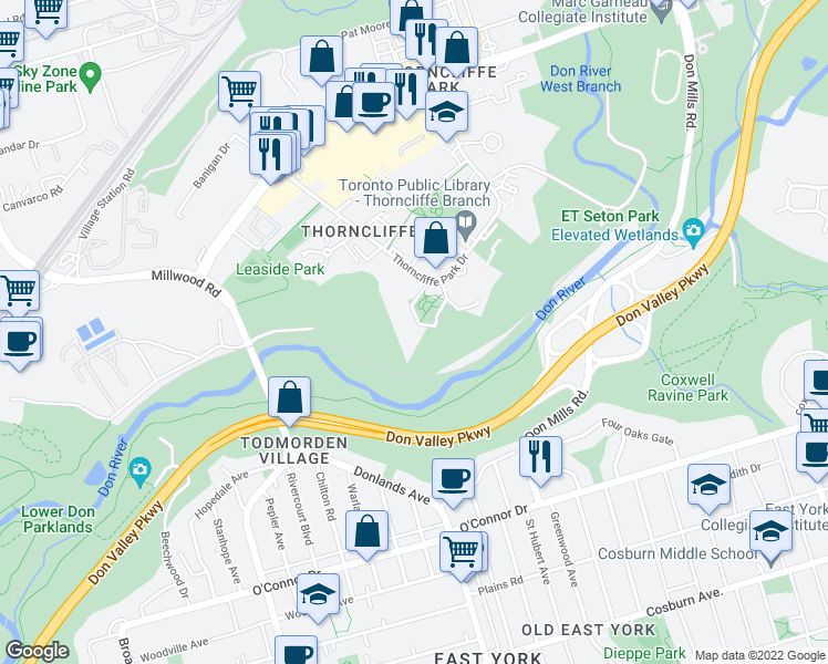 map of restaurants, bars, coffee shops, grocery stores, and more near 43 Thorncliffe Park Drive in Toronto