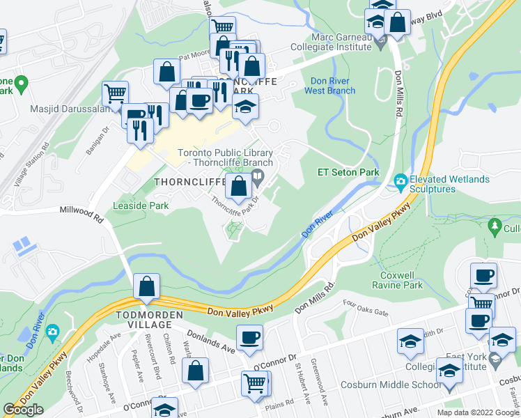 map of restaurants, bars, coffee shops, grocery stores, and more near 49 Thorncliffe Park Drive in Toronto