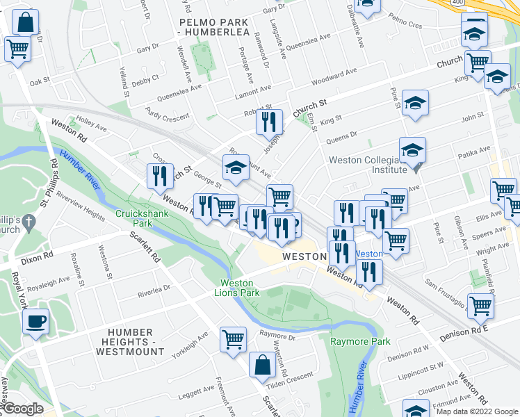 map of restaurants, bars, coffee shops, grocery stores, and more near 33 King Street in Toronto