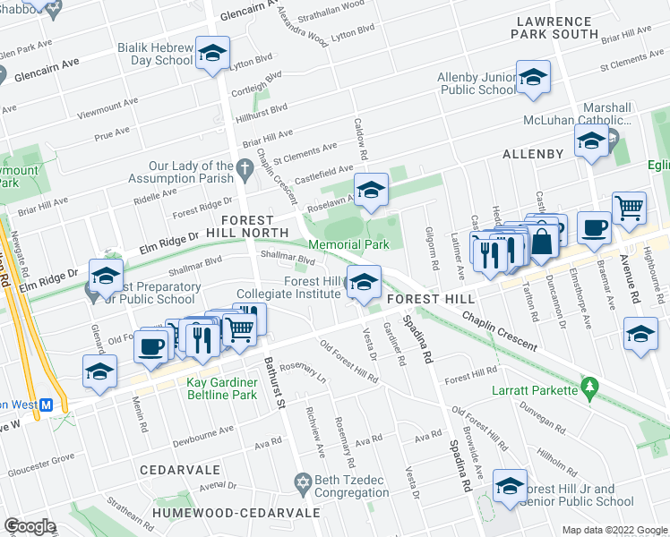 map of restaurants, bars, coffee shops, grocery stores, and more near 21 Mayfair Avenue in Toronto