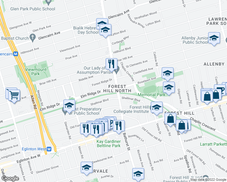 map of restaurants, bars, coffee shops, grocery stores, and more near 2400 Bathurst Street in Toronto