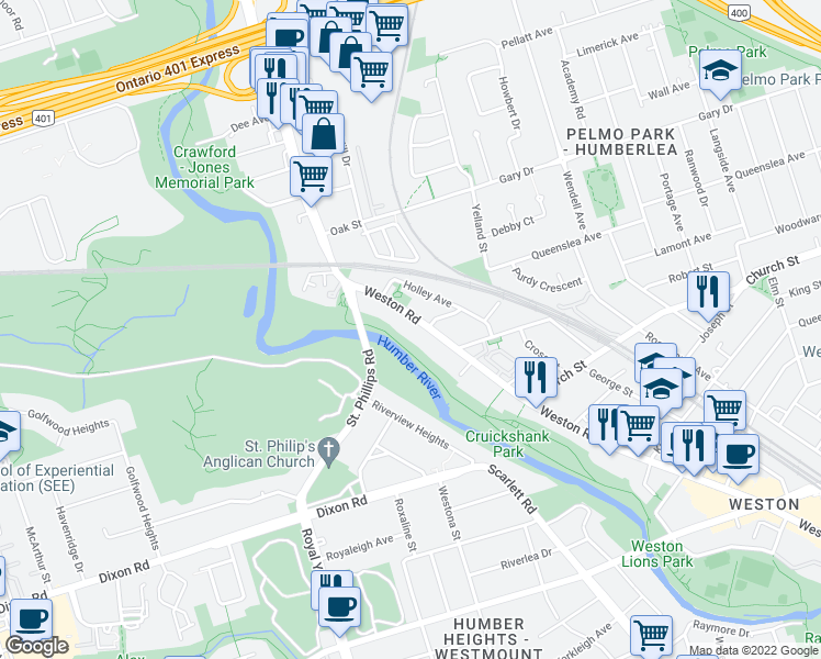 map of restaurants, bars, coffee shops, grocery stores, and more near 2304 Weston Road in Toronto