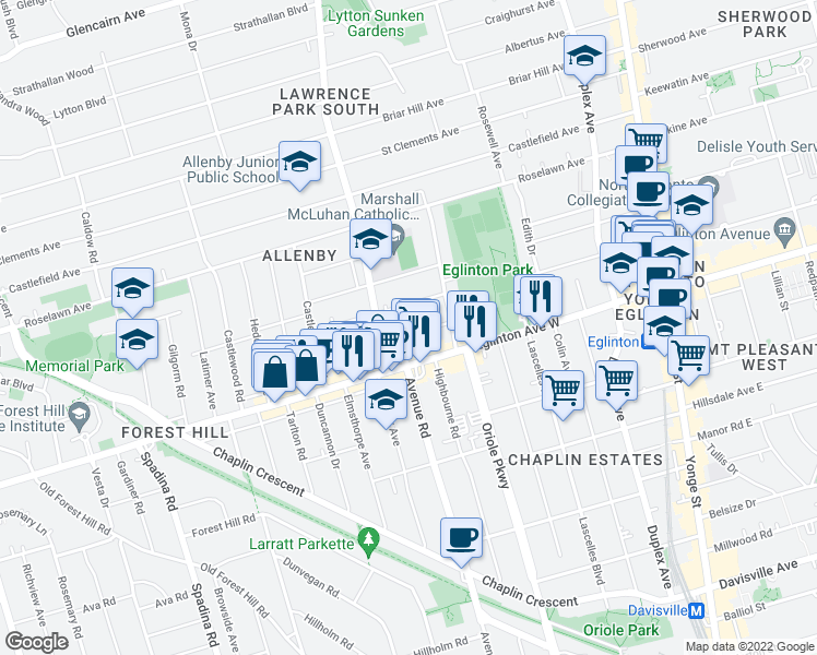map of restaurants, bars, coffee shops, grocery stores, and more near 34 Burnaby Boulevard in Toronto