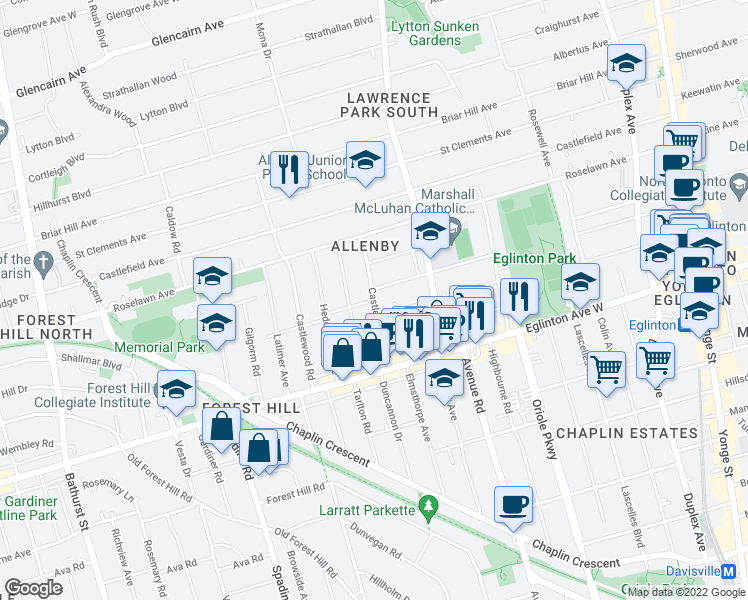 map of restaurants, bars, coffee shops, grocery stores, and more near Castle Knock Rd in Toronto