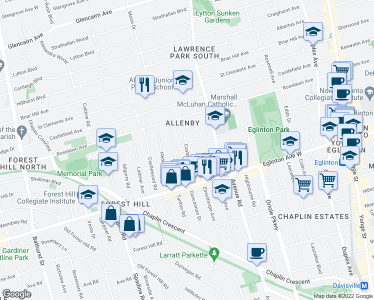 map of restaurants, bars, coffee shops, grocery stores, and more near Castle Knock Road in Toronto