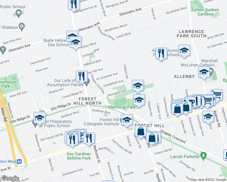 map of restaurants, bars, coffee shops, grocery stores, and more near 630 Roselawn Avenue in Toronto