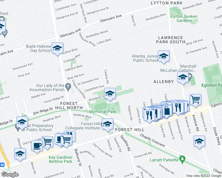 map of restaurants, bars, coffee shops, grocery stores, and more near 9 Caldow Road in Toronto