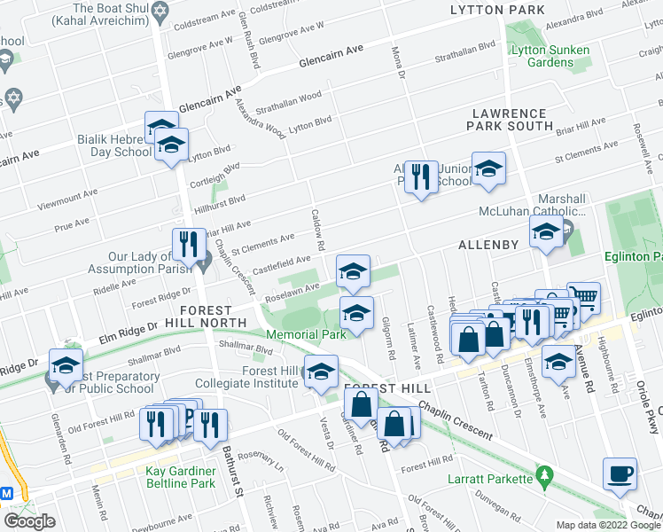 map of restaurants, bars, coffee shops, grocery stores, and more near 11 Caldow Road in Toronto