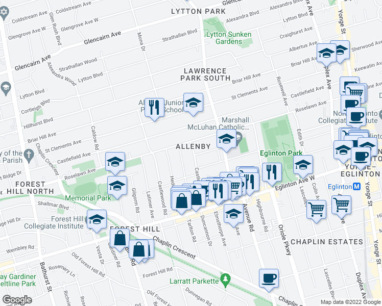 map of restaurants, bars, coffee shops, grocery stores, and more near 86 Castle Knock Road in Toronto
