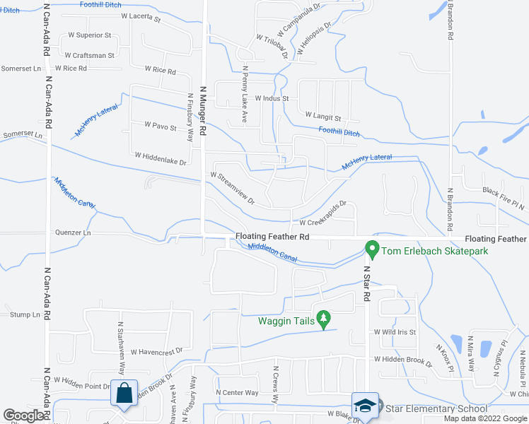 map of restaurants, bars, coffee shops, grocery stores, and more near 12019 West Streamview Drive in Star
