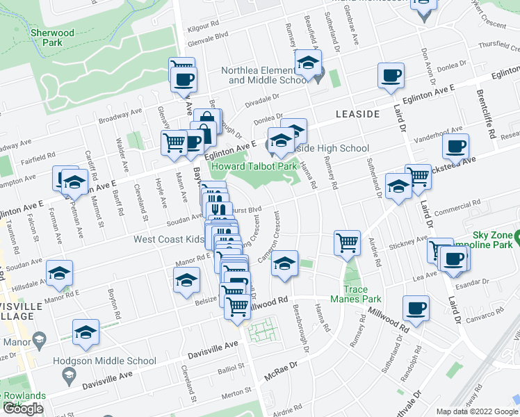 map of restaurants, bars, coffee shops, grocery stores, and more near 46 Parkhurst Boulevard in Toronto