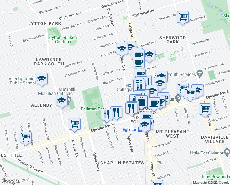 map of restaurants, bars, coffee shops, grocery stores, and more near 118 Montgomery Avenue in Toronto