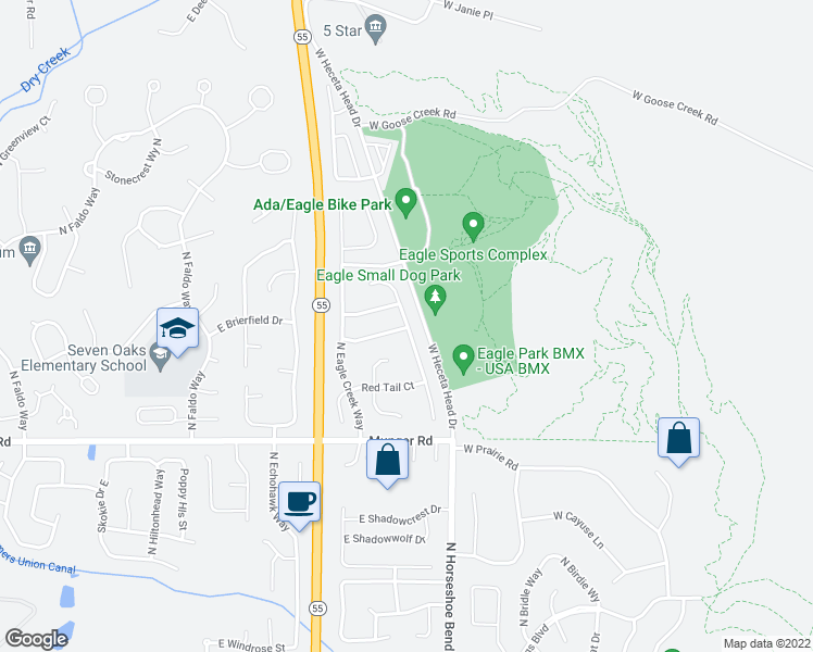 map of restaurants, bars, coffee shops, grocery stores, and more near 1557 North Trail Creek Way in Eagle