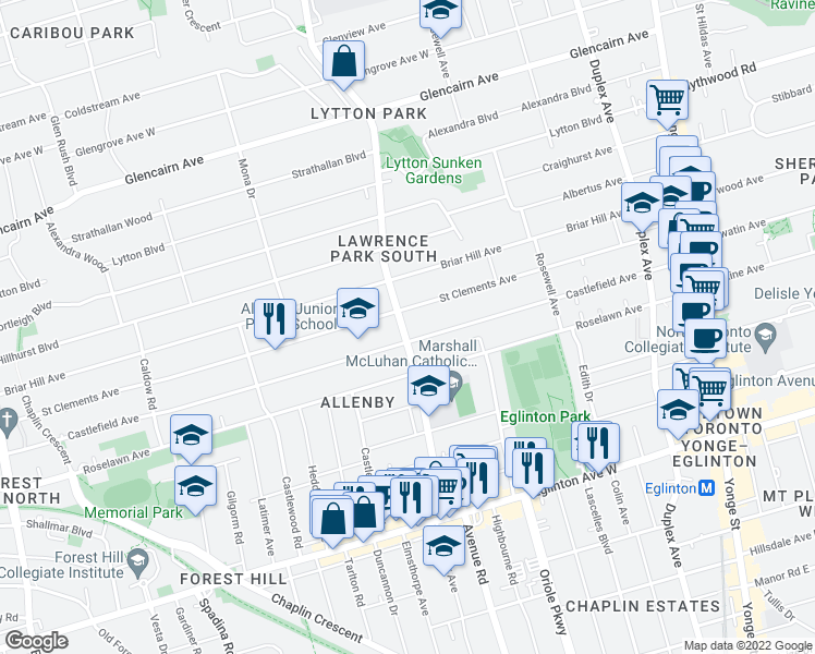 map of restaurants, bars, coffee shops, grocery stores, and more near 1137 Avenue Road in Toronto