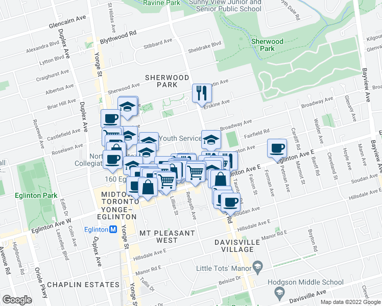 map of restaurants, bars, coffee shops, grocery stores, and more near 117 R Broadway Avenue in Toronto