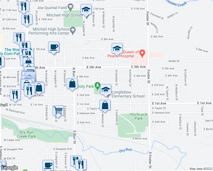 map of restaurants, bars, coffee shops, grocery stores, and more near East 3rd Avenue in Mitchell