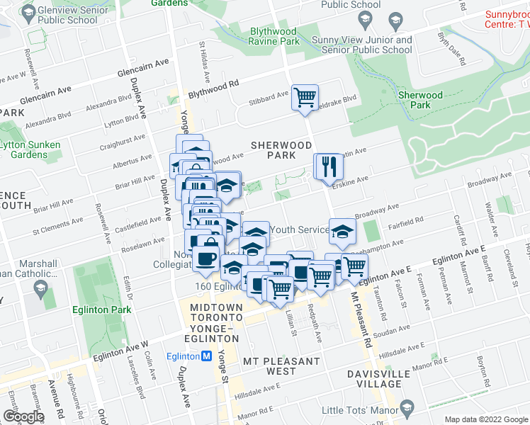 map of restaurants, bars, coffee shops, grocery stores, and more near 101 Erskine Avenue in Toronto