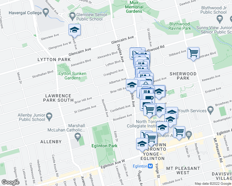 map of restaurants, bars, coffee shops, grocery stores, and more near 127 Briar Hill Avenue in Toronto