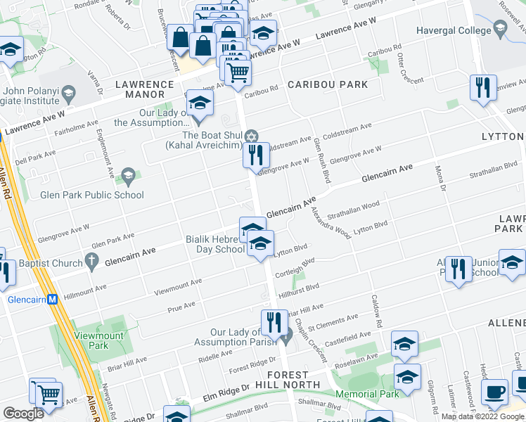 map of restaurants, bars, coffee shops, grocery stores, and more near 2795 Bathurst Street in Toronto