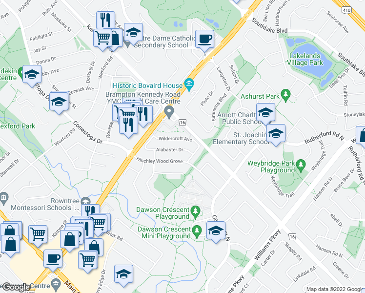 map of restaurants, bars, coffee shops, grocery stores, and more near 24 Alabaster Drive in Brampton