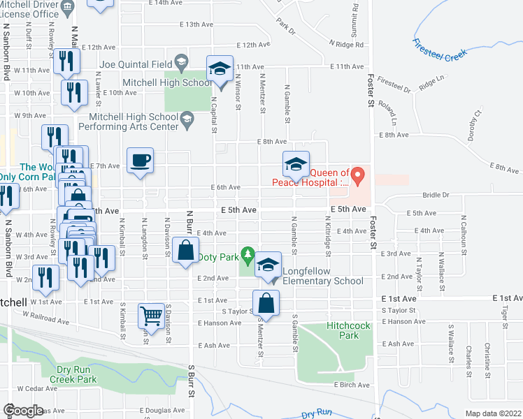 map of restaurants, bars, coffee shops, grocery stores, and more near East 5th Avenue in Mitchell