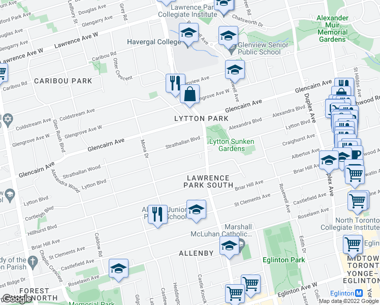 map of restaurants, bars, coffee shops, grocery stores, and more near 23 Strathallan Boulevard in Toronto