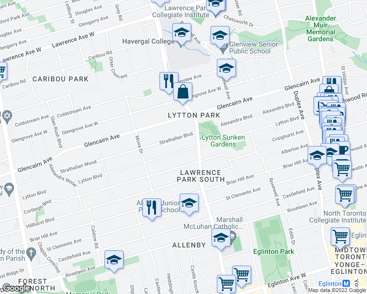 map of restaurants, bars, coffee shops, grocery stores, and more near 248 Lytton Boulevard in Toronto