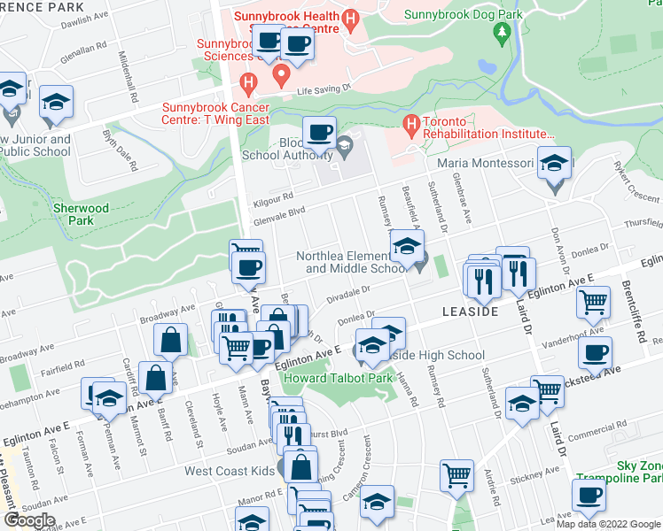 map of restaurants, bars, coffee shops, grocery stores, and more near 444 Broadway Avenue in Toronto