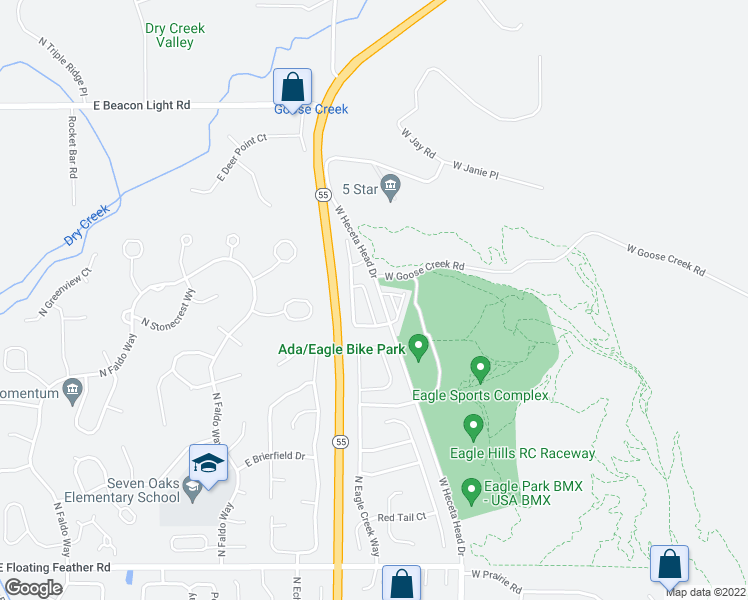 map of restaurants, bars, coffee shops, grocery stores, and more near 2164 North Trail Creek Lane in Eagle