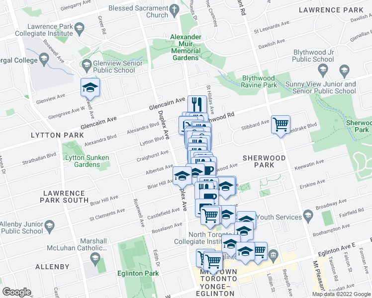 map of restaurants, bars, coffee shops, grocery stores, and more near 33 Craighurst Avenue in Toronto