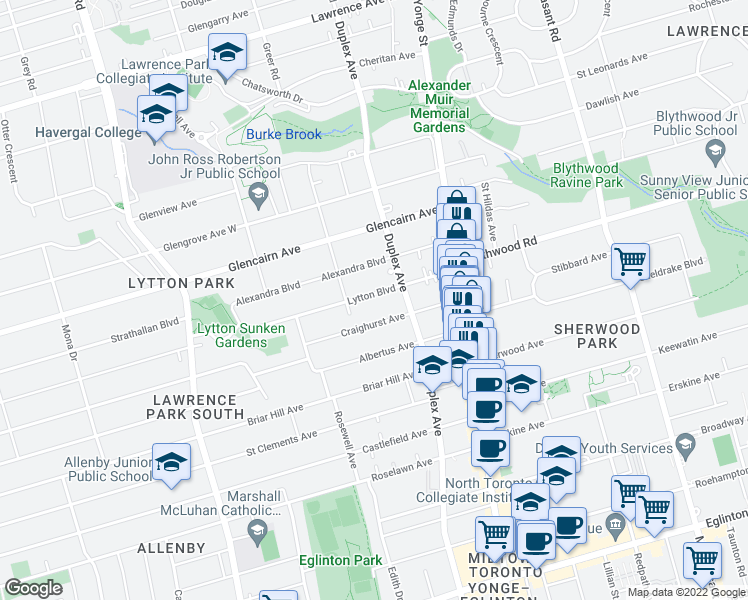 map of restaurants, bars, coffee shops, grocery stores, and more near 65 Lytton Boulevard in Toronto