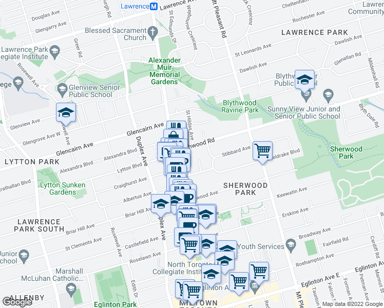 map of restaurants, bars, coffee shops, grocery stores, and more near 7 Blythwood Gardens in Toronto