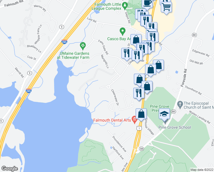 map of restaurants, bars, coffee shops, grocery stores, and more near 98 Clearwater Drive in Falmouth