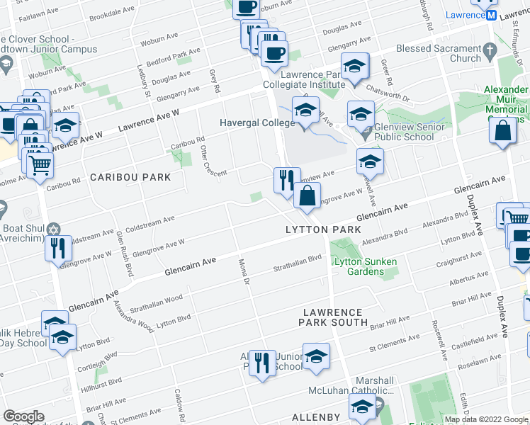 map of restaurants, bars, coffee shops, grocery stores, and more near 281 Glengrove Avenue West in Toronto