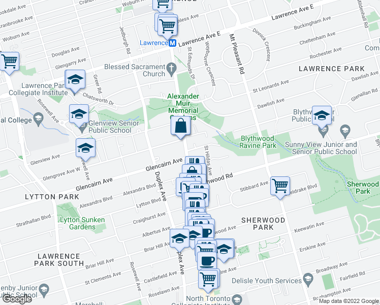 map of restaurants, bars, coffee shops, grocery stores, and more near 2781 Yonge Street in Toronto