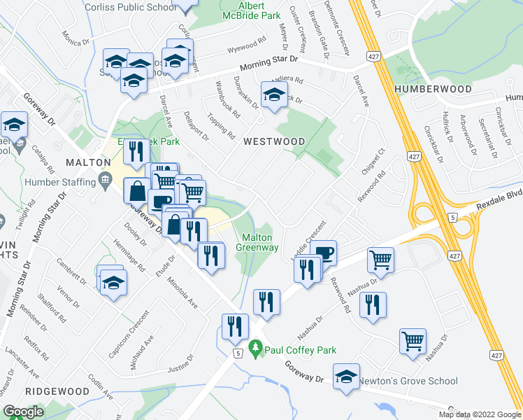 map of restaurants, bars, coffee shops, grocery stores, and more near 7110 Darcel Avenue in Mississauga