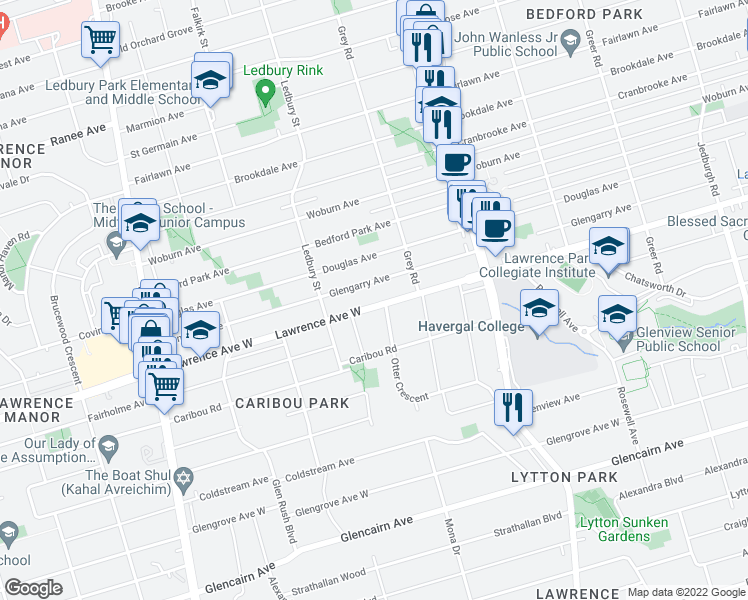 map of restaurants, bars, coffee shops, grocery stores, and more near 364 Lawrence Avenue West in Toronto