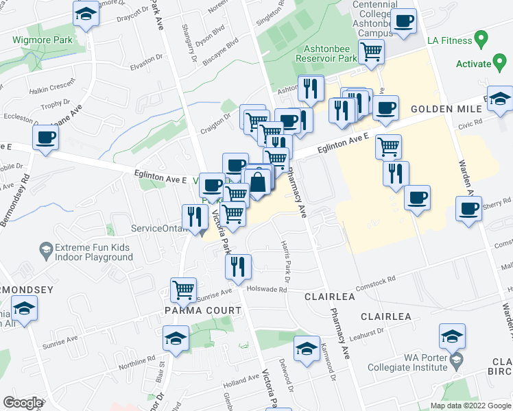 map of restaurants, bars, coffee shops, grocery stores, and more near 1 Eglinton Square in Toronto