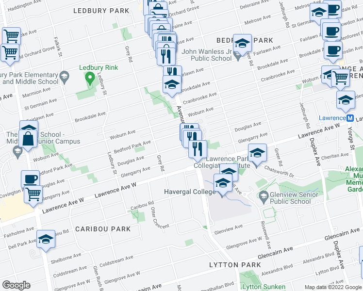 map of restaurants, bars, coffee shops, grocery stores, and more near 332 Douglas Avenue in Toronto