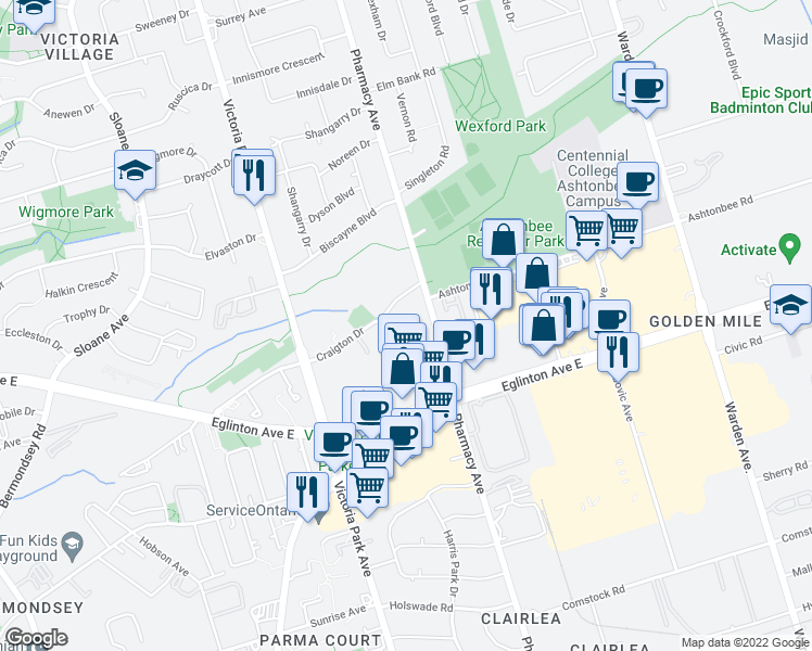 map of restaurants, bars, coffee shops, grocery stores, and more near 32 Craigton Drive in Toronto