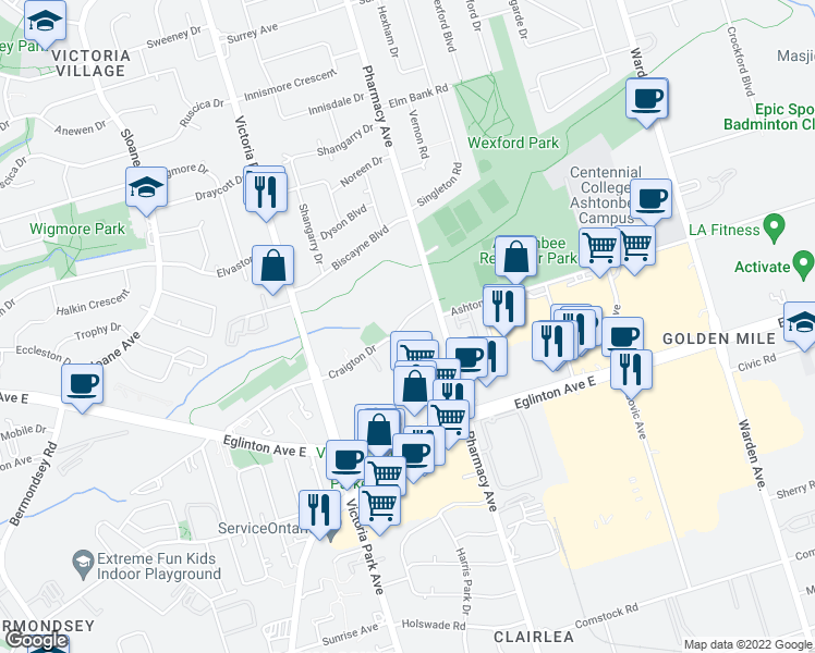 map of restaurants, bars, coffee shops, grocery stores, and more near 1 Rannock Street in Toronto