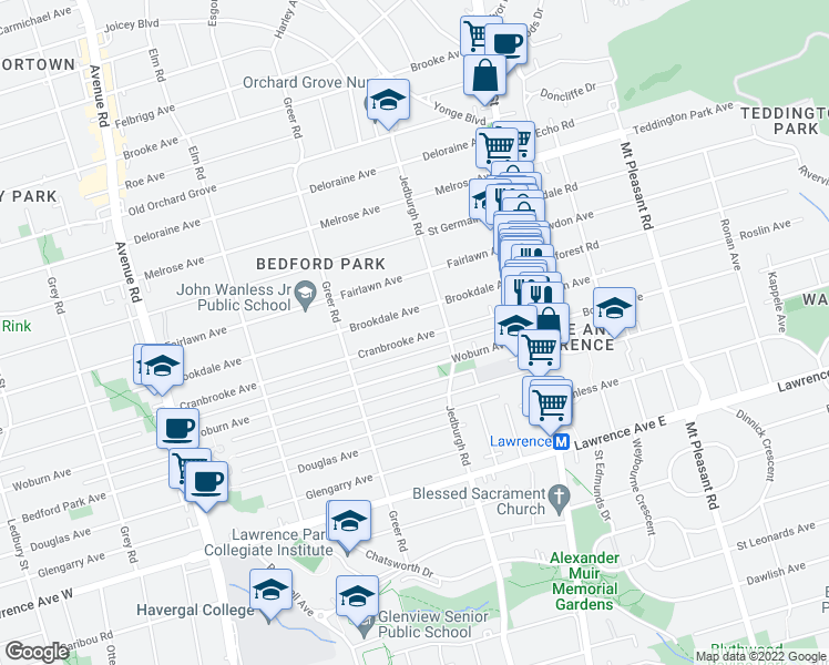 map of restaurants, bars, coffee shops, grocery stores, and more near 118 Cranbrooke Avenue in Toronto