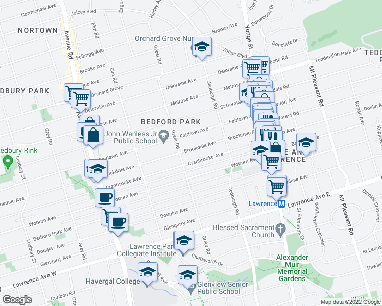 map of restaurants, bars, coffee shops, grocery stores, and more near 199 Brookdale Avenue in Toronto