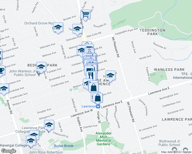 map of restaurants, bars, coffee shops, grocery stores, and more near 20 Bowood Avenue in Toronto