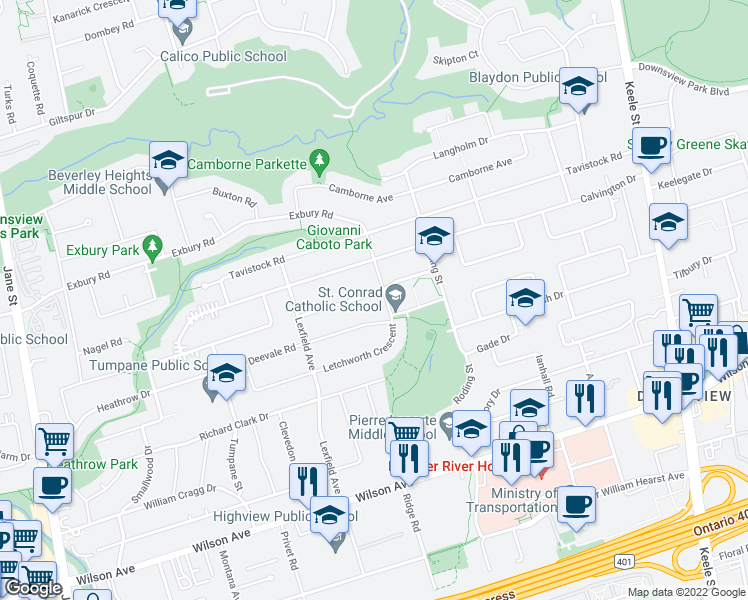 map of restaurants, bars, coffee shops, grocery stores, and more near 31 Parent Avenue in Toronto